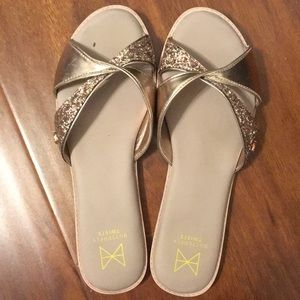 Butterfly Twists Rose Gold Pink Slides Sandals